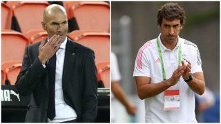 Zinedine Zidane y Raúl González, técnicos del Real Madrid y del Castilla.
