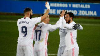 El Real Madrid celebra un gol. (EFE)