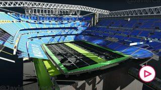 Así es el espectacular mecanismo del césped retráctil del nuevo Bernabéu.
