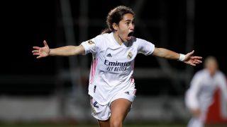 Lorena Navarro celebra el tanto en el minuto 95. (@realmadridfem)