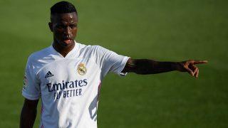 Vinicius, durante un partido del Real Madrid. (AFP)