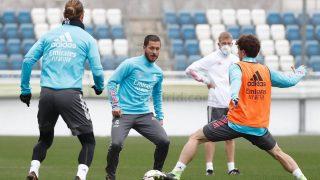 Sergio Ramos y Hazard entrenando con el grupo. (realmadrid.com)