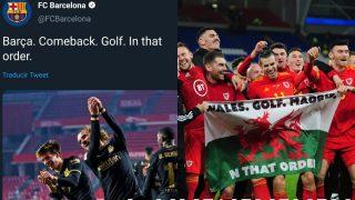 El troleo del Barcelona fue por la imagen que Gareth Bale protagonizó con Bale.