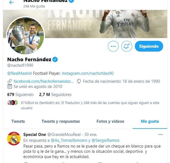 Nacho da 'me gusta' a un tuit que dice que «a Ramos no se le puede dar un cheque en blanco»