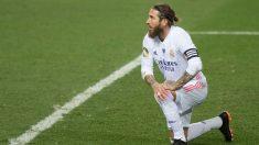 Sergio Ramos durante su último partido disputado con el Real Madrid (AFP):