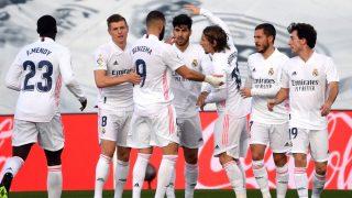 Los jugadores del Real Madrid celebrando un gol (AFP).