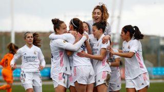 Las jugadoras del Real Madrid celebran un gol. (@realmadridfem)