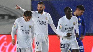 Benzema celebra su gol ante el Getafe. (AFP)