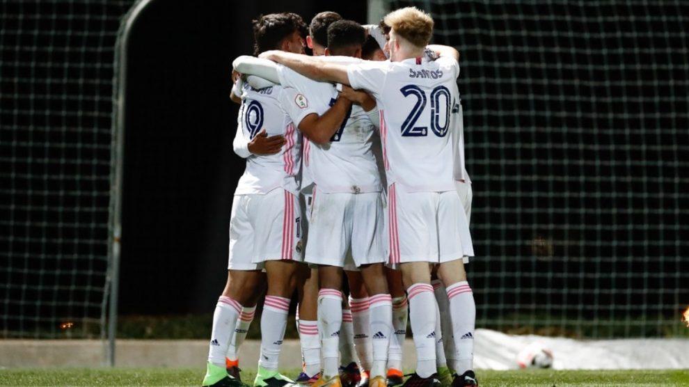 Los jugadores del Castilla celebran un gol (Realmadrid.com).