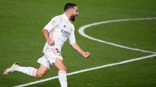Dani Carvajal celebra un gol contra el Atlético (AFP).