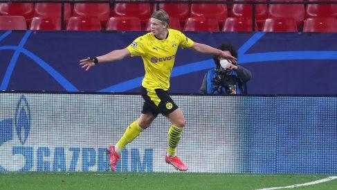 Erling Haaland celebra un gol ante el Sevilla. (Getty)