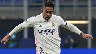 Mariano durante un partido con el Real Madrid. (AFP)