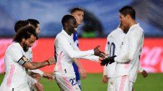 Marcelo, Mendy y Varane, durante un encuentro del Real Madrid (Getty).