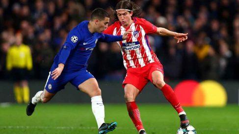 Filipe Luis y Hazard durante un Chelsea – Atlético. (Getty)