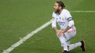 Sergio Ramos, durante un partido con el Real Madrid (AFP).