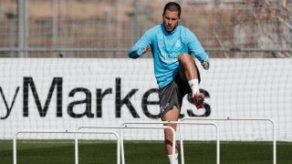 Eden Hazard, durante un entrenamiento con el Real Madrid (realmadrid.com).