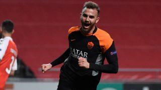 Borja Mayoral celebra un gol con la Roma. (Getty)