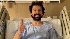 Sergio Llull, tras ser operado de la rodilla.
