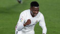 Vinicius celebra el gol ante la Real Sociedad (Getty).