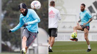 Ramos ya toca balón y avanza en su recuperación. (Realmadrid.com)