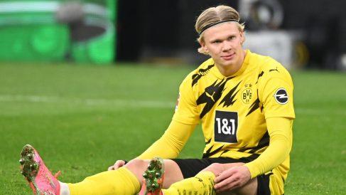 Erling Haaland, durante un partido del Dortmund (AFP).