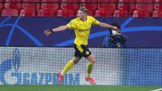 Haaland celebra uno de sus goles con el Borussia Dortmund (Getty)