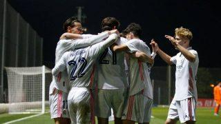 Los jugadores del RM Castilla celebrando un gol (Realmadrid.com).