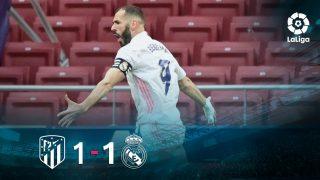 Atlético y Real Madrid igualaron a uno en un derbi que deja abierta la Liga.