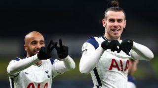 Gareth Bale celebra uno de sus dos goles con el Tottenham. (Getty)