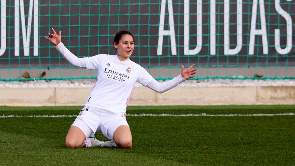 Jessica Martínez celebra uno de sus tantos ante el Espanyol. (Getty)