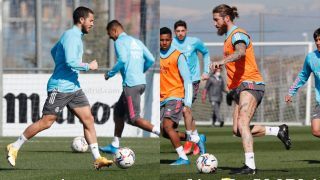 Hazard y Ramos, en el entrenamiento. (RealMadrid)