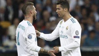 Sergio Ramos y Cristiano, en su último partido juntos en el Real Madrid. (AFP)