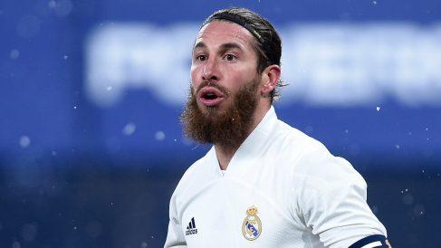 Sergio Ramos, en un partido con el Real Madrid (Getty).