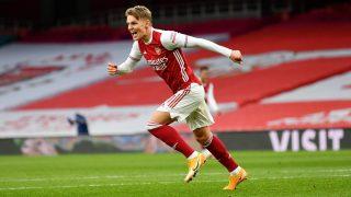 Ödegaard celebra su gol contra el Tottenham. (Getty)