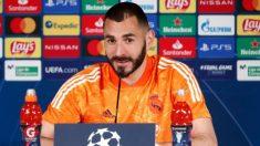 Benzema, en rueda de prensa.