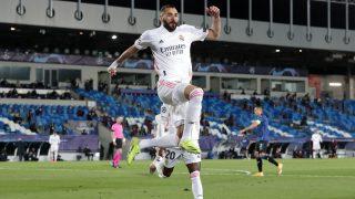 Benzema celebra su gol al Atalanta. (Getty)