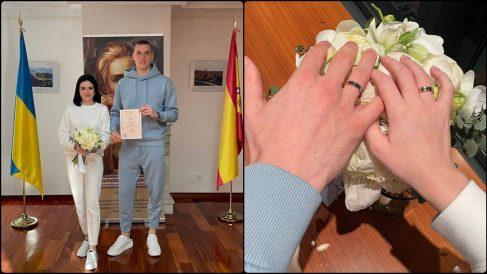 Andriy Lunin se casa en chándal con su pareja.