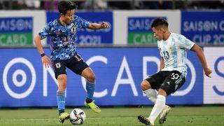 Take Kubo, durante el partido de la selección olímpica de Japón ante Argentina (Getty).