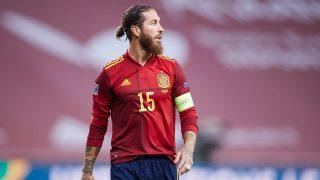 Sergio Ramos, en un partido de la selección española (Getty).