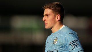 Liam Delap, en un partido con el Manchester City. (Getty)