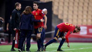 Sergio Ramos a su entrada al campo. (Getty)