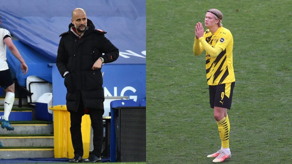 Guardiola y Haaland. (Getty)