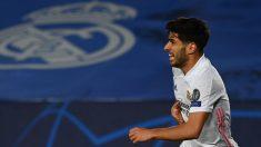 Marco Asensio celebra su gol en el Real Madrid-Liverpool. (AFP)