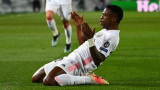 Vinicius celebra un gol contra el Liverpool (Getty).