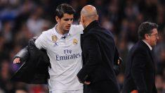 Zidane con Morata, durante la etapa del madrileño en el Real Madrid (Getty)