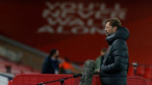 Jürgen Klopp durante un partido en Anfield. (AFP)