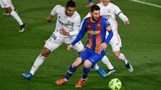 Messi, durante el partido entre el Barcelona y el Real Madrid (AFP)