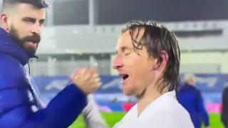 Piqué y Modric a la conclusión del partido. (Movistar+)