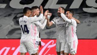 El Real Madrid celebra un gol en el Clásico (AFP).