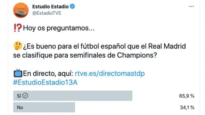 La pública TVE hace una encuesta sobre si «es bueno para el fútbol español que el Madrid pase a semifinales»